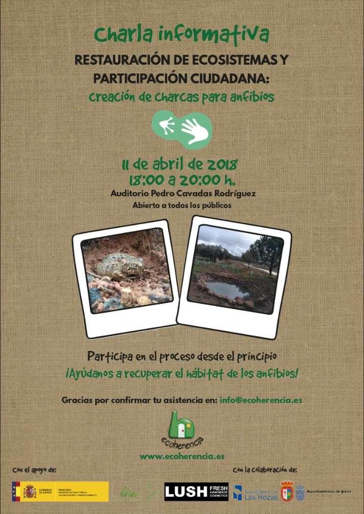 Cartel de la charla informativa de creación de charcas para anfibios en Castellar de Santiago