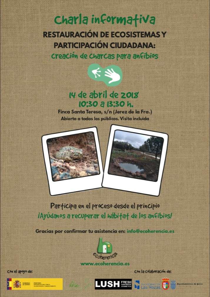 Cartel de la Charla informativa de creación de charcas para anfibios en Jerez de la Frontera