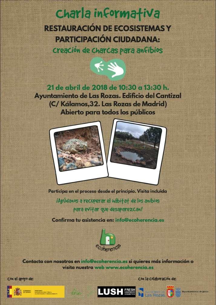 Cartel de la charla informativa de creación de charcas para anfibios en Las Rozas de Madrid